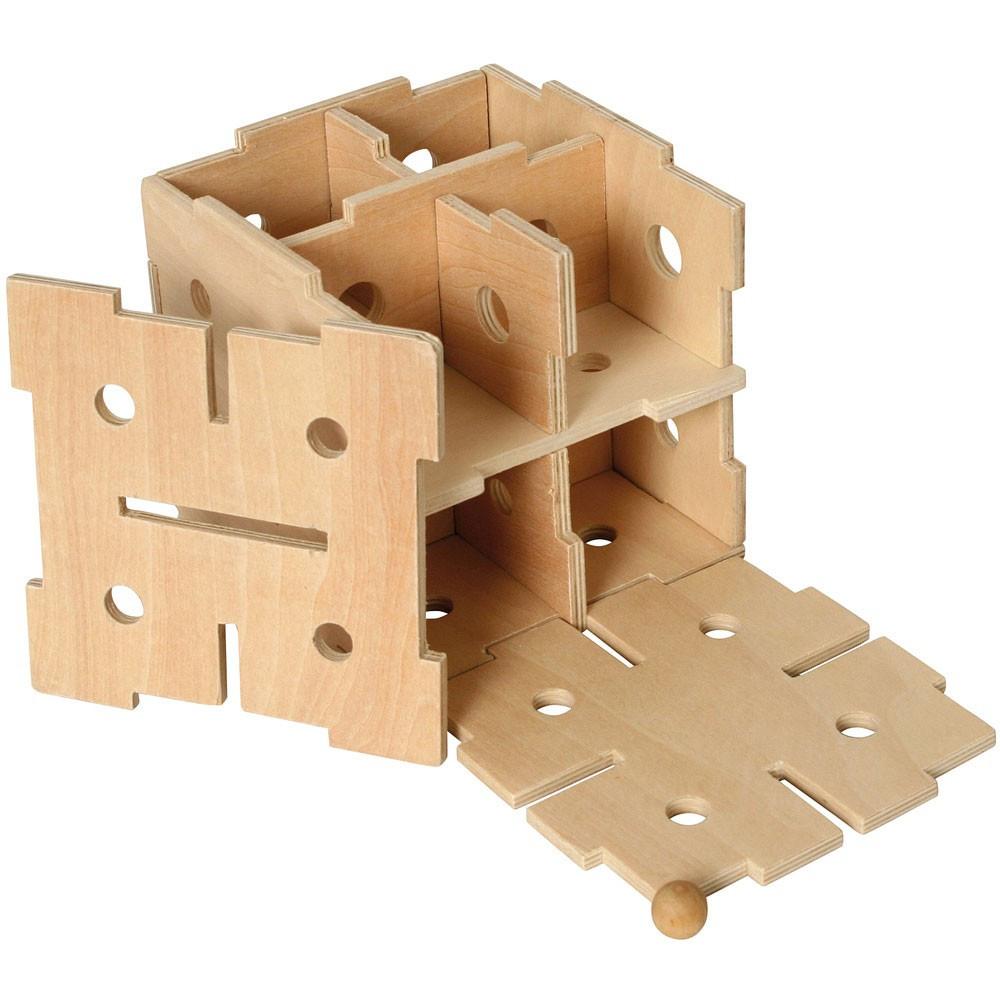 Fa logikai játék, kocka labirintus