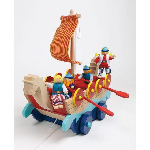 Vikinghajó fából, kalózokkal