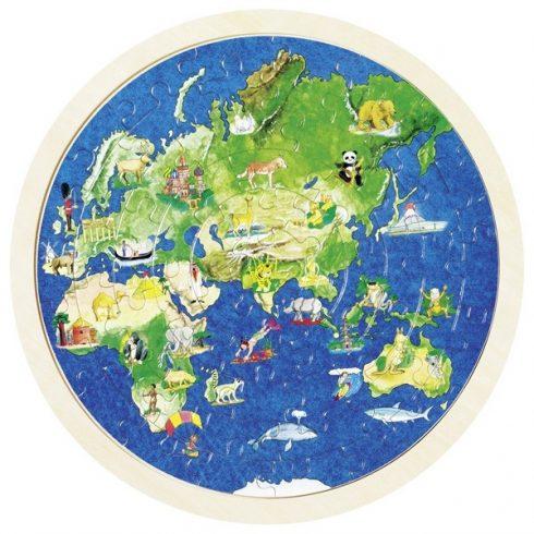 Kétoldalas fa puzzle - Földgömb